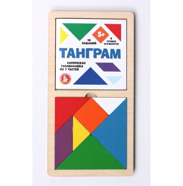 Игра головоломка деревянная «Танграм» цветная. 00788