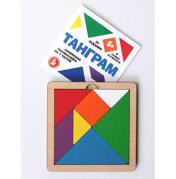 Игра головоломка деревянная «Танграм» цветная (малая). 00786