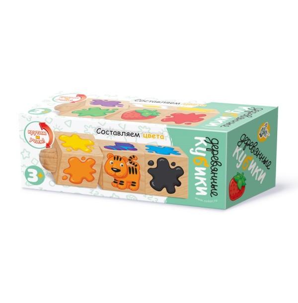 Кубики деревянные на оси «Составляем цвета». 02966