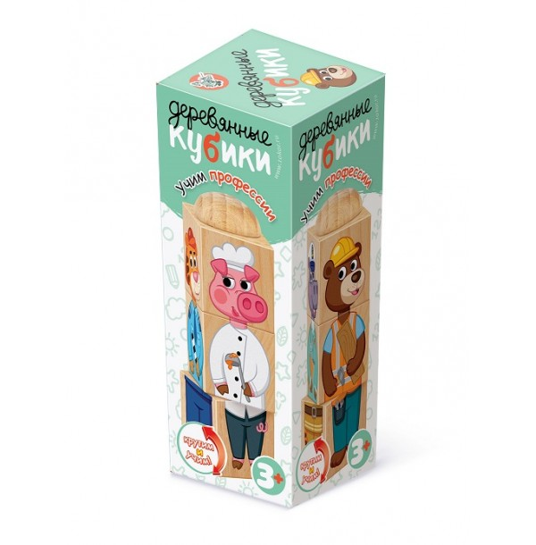 Кубики деревянные на оси «Учим профессии». 03952