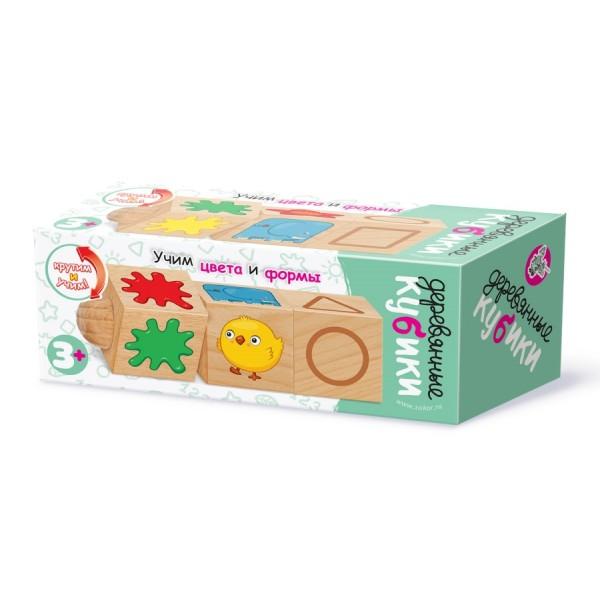 Кубики деревянные на оси «Учим цвета и формы». 02968