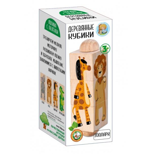 Кубики деревянные на оси «Зоопарк». 02955