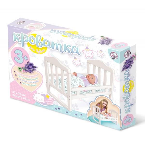 Деревянная кроватка для куклы большая (белая). 02716
