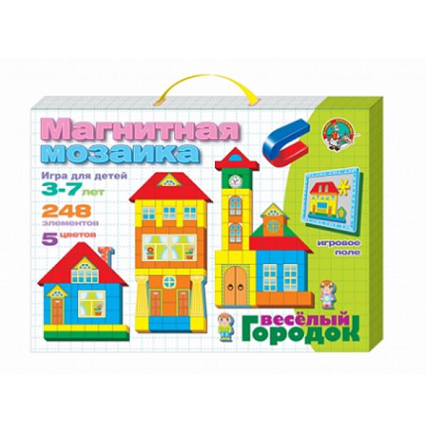 """Магнитная мозаика """"Веселый городок""""(5 цветов, 248 магнитных фишек, 30 дополнительных элементов)."""