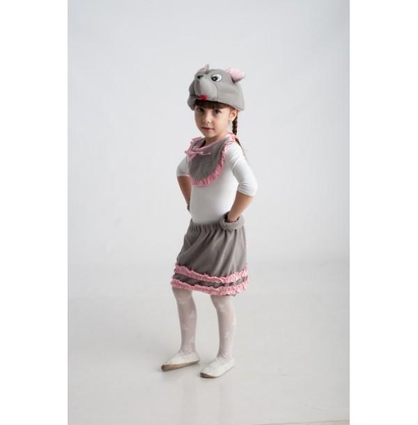 Мышка (шапочка + нагрудник + лапки + юбочка с хвостиком). 91021/1