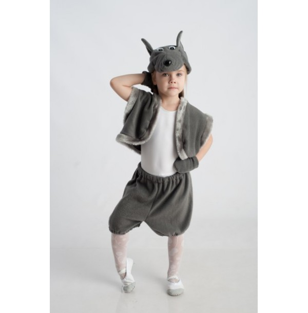 Волк (шапочка + жилет + лапки + штанишки с хвостиком). 91015/1