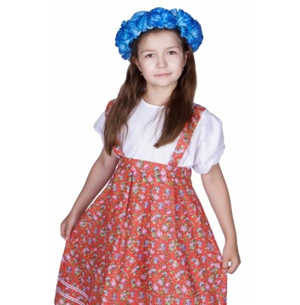 Народный костюм для девочки (сарафан с имитацией блузки, венок из искусственных цветов). 91061