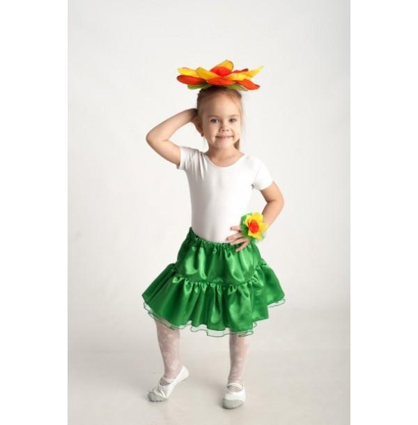 юбка из зеленого креп — сатина с фатином. 94003