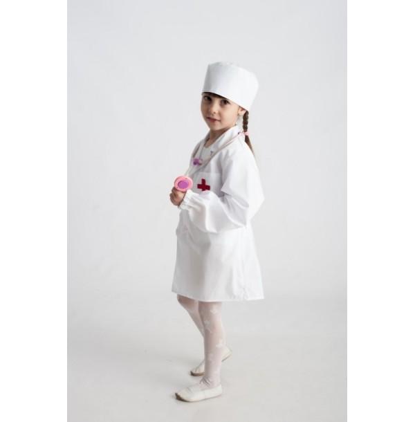 Доктор (халат с длинным рукавом + шапочка). 61027