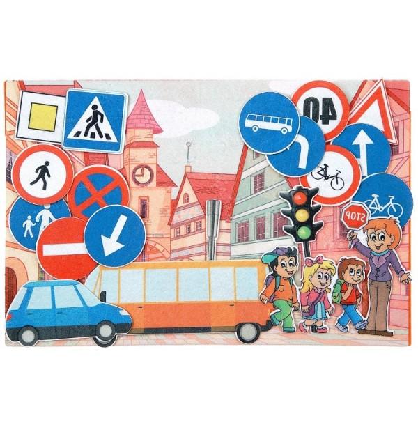 Дорожные знаки с игровым полем фетр. LIP1137