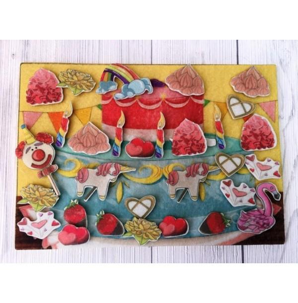 Украшаем торт с игровым полем фетр. LIP1169