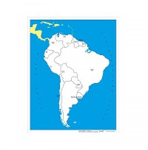 Контурная карта Южной Америки - столицы. 6.05.1С
