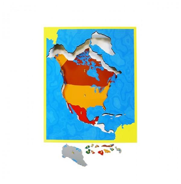 Карта Северной Америки (пазлы) сквозная. 6.04.С