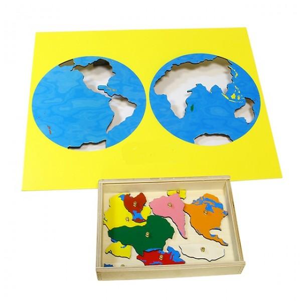 Карта континентов (пазлы) сквозная. 6.01.С