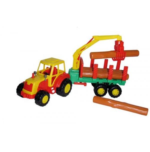 """Трактор """"Мастер"""" с полуприцепом-лесовозом. 35295"""