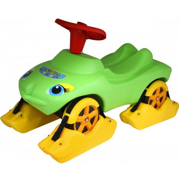 """Каталка """"Мой любимый автомобиль"""" зеленая со звуковым сигналом многофункциональная. 44648"""
