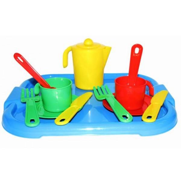 """Набор детской посуды """"Анюта"""" с подносом на 2 персоны. 3865"""