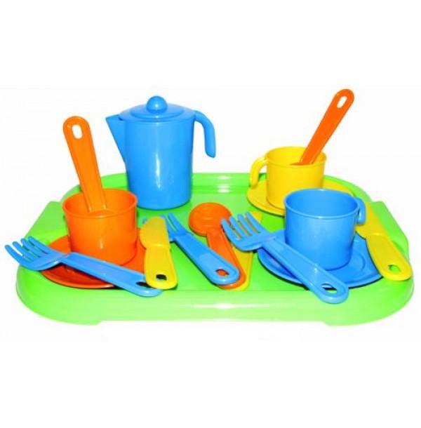 """Набор детской посуды """"Анюта"""" с подносом на 3 персоны. 3872"""