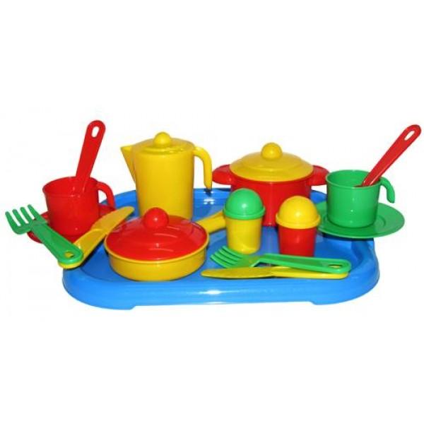 """Набор детской посуды """"Настенька"""" с подносом на 2 персоны. 3940"""