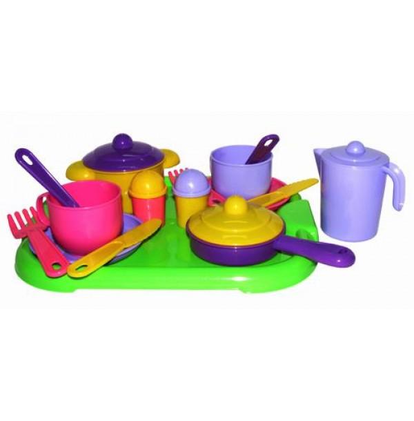 """Набор детской посуды """"Хозяюшка"""" с подносом на 2 персоны. 4053"""