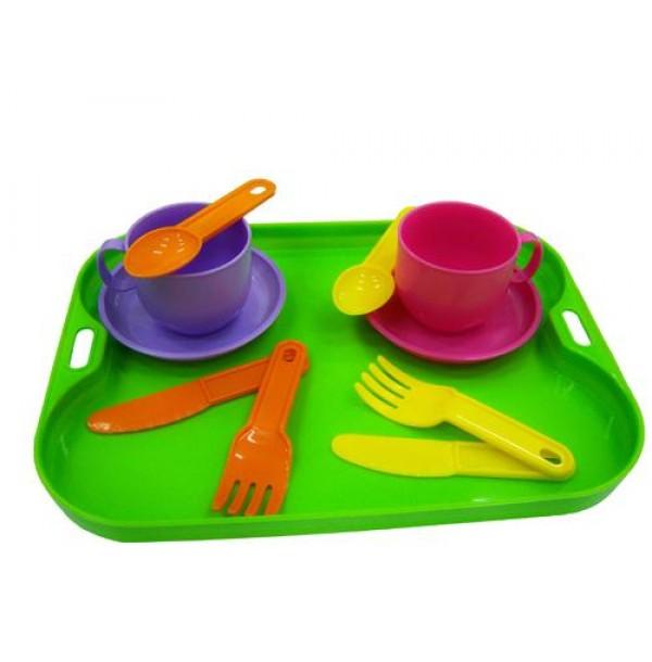 """Набор детской посуды """"Минутка"""" с подносом на 2 персоны. 9516"""