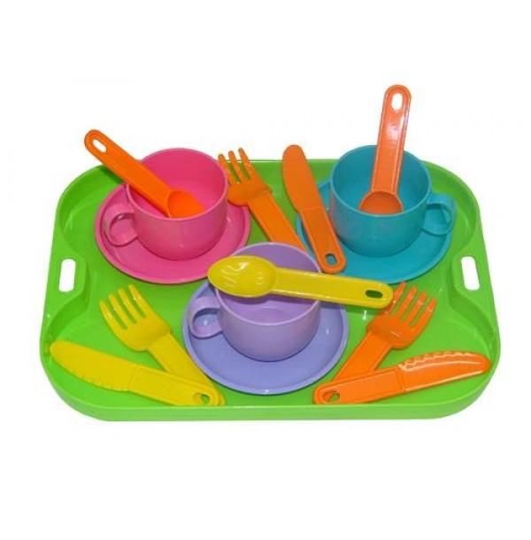 """Набор детской посуды """"Минутка"""" с подносом на 3 персоны. 9523"""