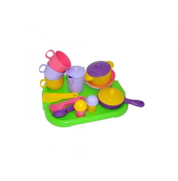 """Набор детской посуды """"Хозяюшка"""" с подносом на 3 персоны. 4046"""