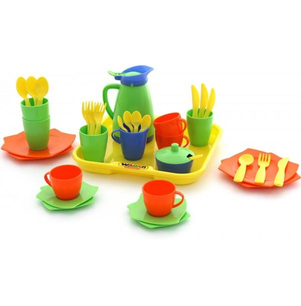 """Набор детской посуды """"Алиса"""" с подносом на 4 персоны. 40640"""