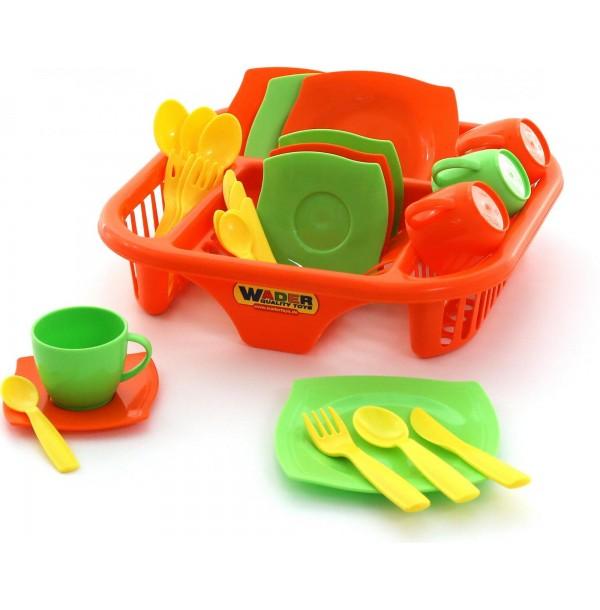 """Набор детской посуды """"Алиса"""" с сушилкой на 4 персоны. 40725"""