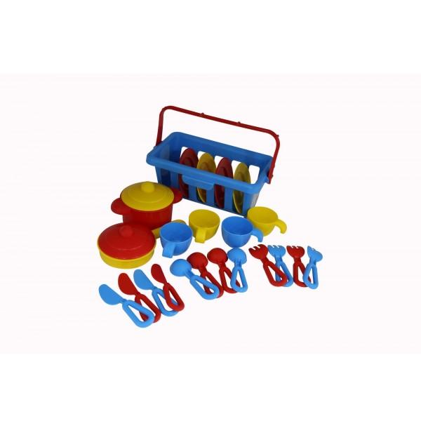 """Набор детской посуды """"TOP chef"""" с корзинкой №2 на 4 персоны (в сеточке). 42651"""