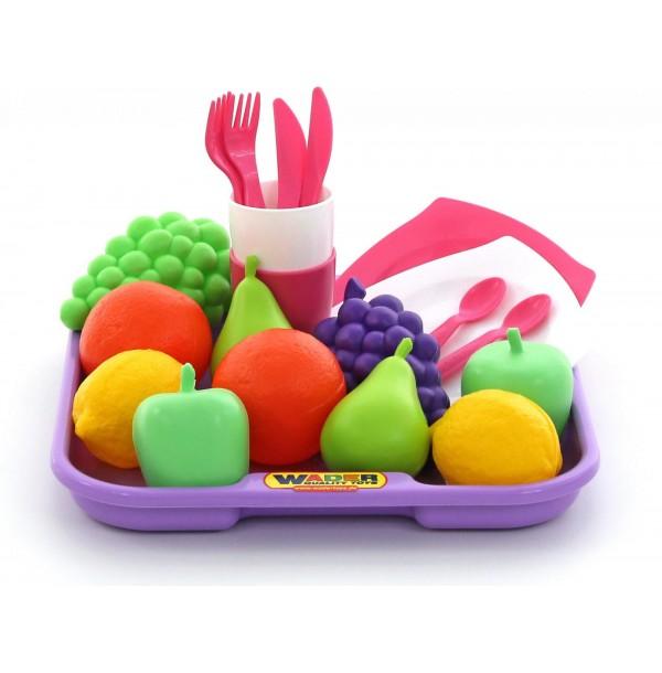 Набор продуктов №2 с посудкой и подносом (21 элемент) (в сеточке). 46970