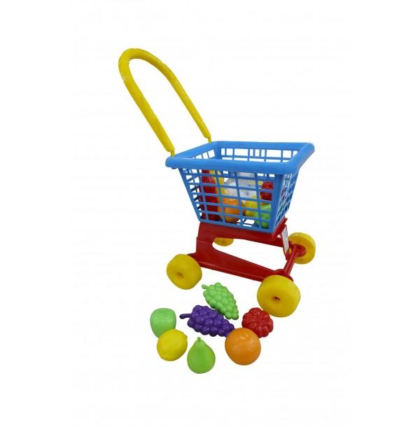 """Тележка """"Supermarket"""" №1 + набор продуктов (в сеточке). 42989"""