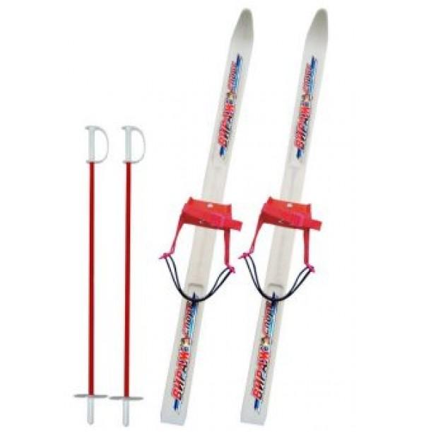 Лыжи детские Вираж-спорт с палками,пластиковые 15310