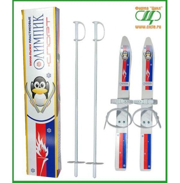 Лыжи детские Олимпик- спорт с палками,пластиковые 15312