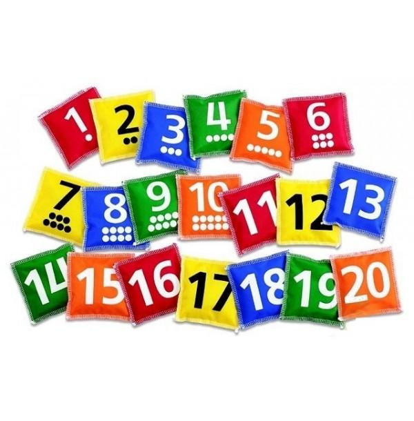 Мешочки с цифрами и точками 1–20. 61074