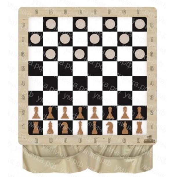 Настенная игра «2 в 1 шашки + шахматы». НИ-01